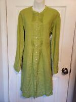 NWT Garnet Hill Womens Dress 100% Linen pleated front shirt neon green size 14