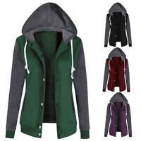 Ladies Sweatshirt Zip Jacket Coat Hoodie Jumper Womens Plain Fleece Hooded Hoody