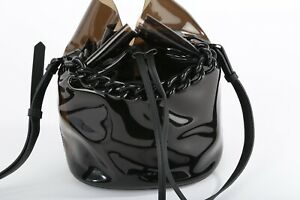 KENDALL + KYLIE Black Leather PVC Round Chain Bucket Bag
