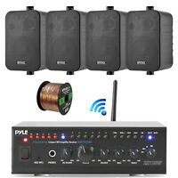 "Pyle WiFi Bluetooth Stereo Amplifier, 2x 4"" 200 Watt Speakers Black, Bundle"