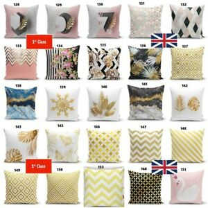 Marble Swan Golden Leaves Floral Geometric ThrowPillow  Gold Strip Cushion Cover