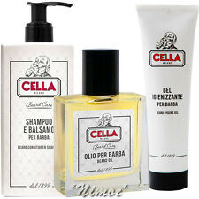 Cella Milano ® Beard Care Kit 3pcs Cream + Oil + Gel Barba D-Pantenol Bearded