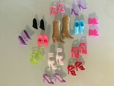 Lot of 13 fashionable pairs of Barbie Doll Shoes + gold cowboy boots