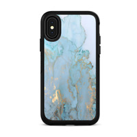 Skins for iPhone X Otterbox Defender Stickers - Teal Blue Gold Marble Granite