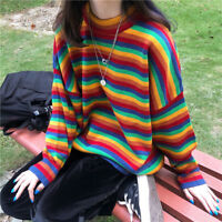 Lady Rainbow Striped Sweater Pullover Jumper Knitted Baggy Harajuku Tops Fashion