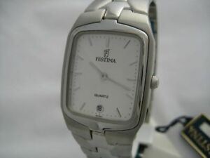 NEW WITH BOX NICE WATER RESISTANT STAINLESS STEEL MEN'S FESTINA WATCH WITH DATE