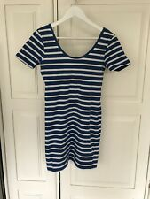 Superdry Ladies Tshirt Dress Blue And White Striped Size Large