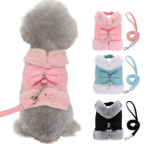 Warm Dog Harness Lead Set Soft Adjustable Fleece Pet Puppy Vest with Fur Collar