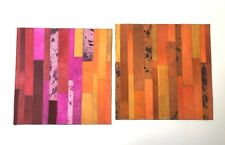 2 SURYA Leather Hair on Hide Carpet Mat Tile Hand Craft Red Orange Pink 18x18 Ea