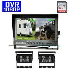 "2x HD 1080P 18LED IR Reverse Backup Rear View Camera + 9"" DVR Recorder Monitor"
