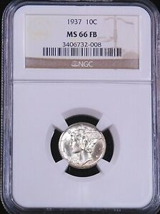 1937 Mercury Dime NGC MS66FB White Full Bands with Beautiful Luster, PQ #GE97