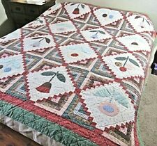 4pc Greens,Red Country Patchwork Quilted Comforter,Shams,Sq Pillow Covers Full/Q