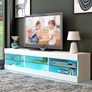 """57"""" Modern TV Stand Cabinet Console with LED Lights Shelves Entertainment Center"""