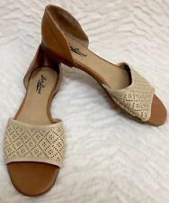 Lucky Brand Cantara D'Orsay Flats/ Shoes Leather Open Toe Sz 8.5 Cutout Design