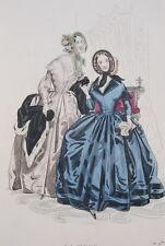 GRAVURE COULEURS LA MODE 1841-OLD FASHION PRINT XIXe SIECLE COSTUME MD82
