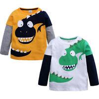 Toddler Children Cartoon Boys Dinosaur Patchwork Shirt Tops Outfits Clothes