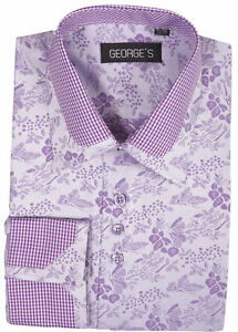 New Men's Dress Shirt Floral/Check Design Double Collar by George's AH622