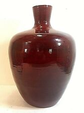 "CONTEMPORARY RED LACQUERED SPUN BAMBOO VASE 14"" TALL. Must See!"