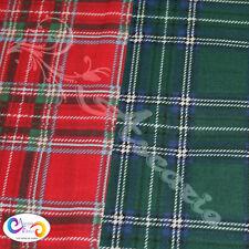 "Festive Christmas Tartan Polycotton Craft Material Bunting Dress Fabric 45"""
