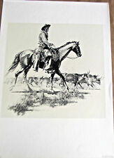"Tom Lea Texas Artist Cowboy Art Trail Driver Horse and Rider 15.5x11.5"" Unsigned"