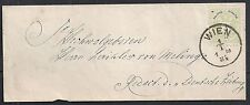 Austria 1884 3Kr franked local cover Vienna