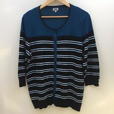 BIB Big Is Beautiful Plus Size S Teal Blue Black & White Cardigan AS NEW