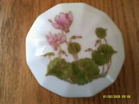 Vintage Otagiri Japan Trinket Box Porcelain Cyclamen Pink Flower