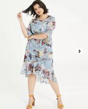 Little Mistress Simply Be Size 26 Beautiful Floral Dip Hem Dress Multi Coloured