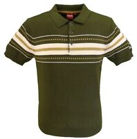 Merc Mens Tanner Dark Sage Knitted Polo Shirts