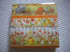 40 Fine Style Brand paper LUNCHEON size napkins EASTER pattern BUNNIES EGGS
