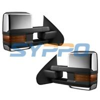 For 14-18 Silverado Sierra Towing Mirrors Power Heated Amber LED Turn Signals