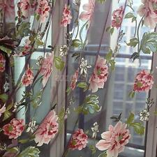 Weinrot Blumen Voile Vorhang Vorhänge Gardine Fenster Vorhänge Tüll Perlen