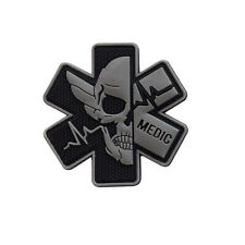 PVC Rubber Paramedic Medic Patch EMT First Aid Morale Tactical Skull Badge Gray