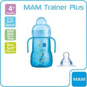 MAM Trainer 2in1 - Transitioning Baby Bottle - 4+ Months - Blue - 220ml