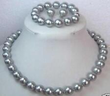 8MM AAA Grey South Sea Shell Pearl Necklace Bracelet / Earring Set