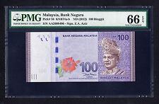 Malaysia 100 Ringgit ND 2012 P. 56 PMG 66 GEM UNC Note First Prefix AA