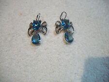 NOLAN MILLER Amazing EARRINGS Silvertone Blue Topaz Austrian Crystal NEW Free Sh