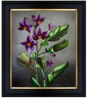 Framed, Quality Hand Painted Oil Painting Still Life with Purple Lilies 20x24in