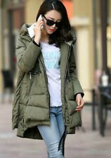 UK Winter Fashion Women Long Sleeve Chunky Cotton Coat Maternity Jacket Outwear Army Green L
