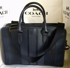 COACH F37809 Bond Briefcase Coated Canvas Plaid QB/Midnight Multi MSRP $595 NWT