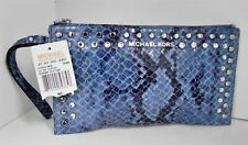 New Michael Kors Jet Set Blue Snake Print Leather Jeweled Studded Clutch Bag