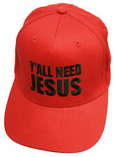 YALL NEED JESUS EMBROIDERED SNAPBACK CAP FUNNY SLOGAN RED BASEBALL HAT
