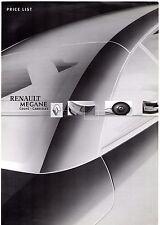 RENAULT Megane Coupe Cabriolet CC Accessori prezzi 2003-04 UK Opuscolo del mercato