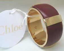NEW $915 Chloe' Bracelet Deep Red Grape Wine Leather Calfskin Gold Bangle Small