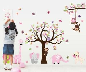 Wandtattoo Kinderzimmer Wandaufkleber Baum Tiere Affe Elefant 130 x 300 XXL W180