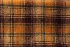 """HAND DYED RUG HOOKING WOOL Mill-Dyed APPLIQUE """"GOLD BROWN GREEN BEIGE PLAID"""""""