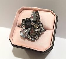 NWT NEW JUICY COUTURE SILVER PAVE CRYSTAL PYRAMID CLUSTER COCKTAIL RING FASHION