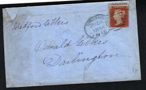 GB QV 1854 1d Red perf cover Liverpool spoon cancel to Darlington