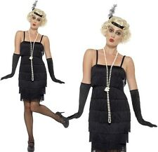 Short Black Flapper Fancy Dress Ladies 20s Costume Hen Party Ideas Smiffys 45498 L - Large