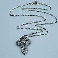 "Solid Sterling Silver 925 CZ Set Celtic Knot Cross Pendant & 17"" Necklace L236"